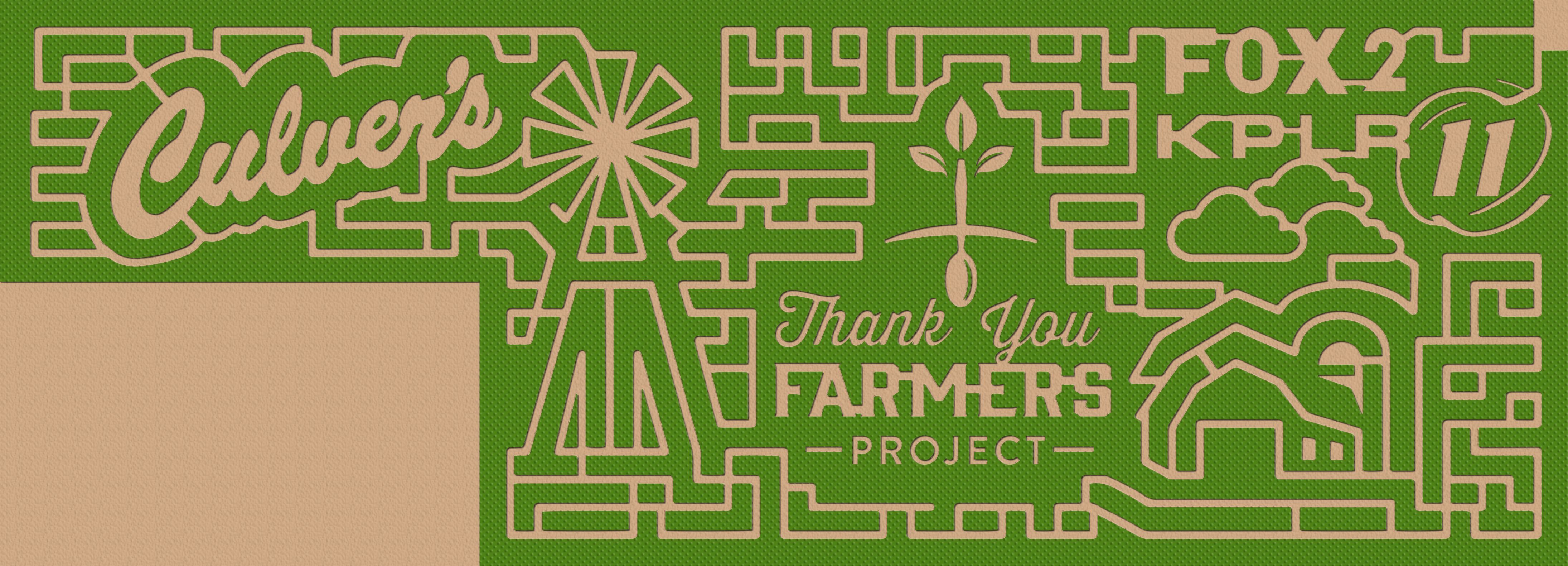 Aerial view of the Eureka, MO, Culver's Thank You Farmers Project corn maze