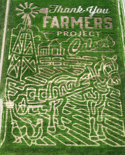 Aerial view of the Twin Falls, Idaho, Culver's Thank You Farmers Project corn maze