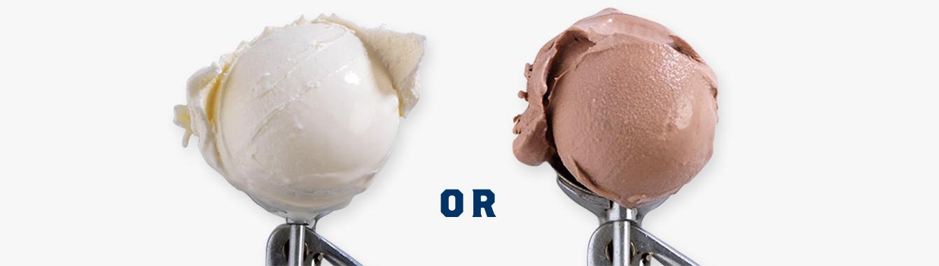 A scoop of vanilla custard and a scoop of chocolate custard.