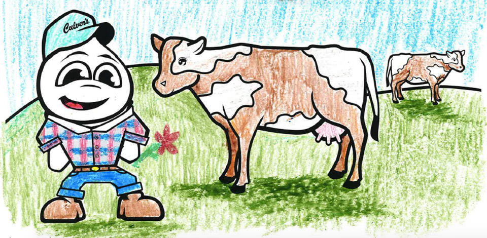 Coloring page from the 2019 calendar featuring Culver's Mascot Scoopie in farmer attire and hat next to two cows