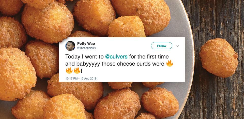 Screenshot of tweet on a background of Culver's menu items