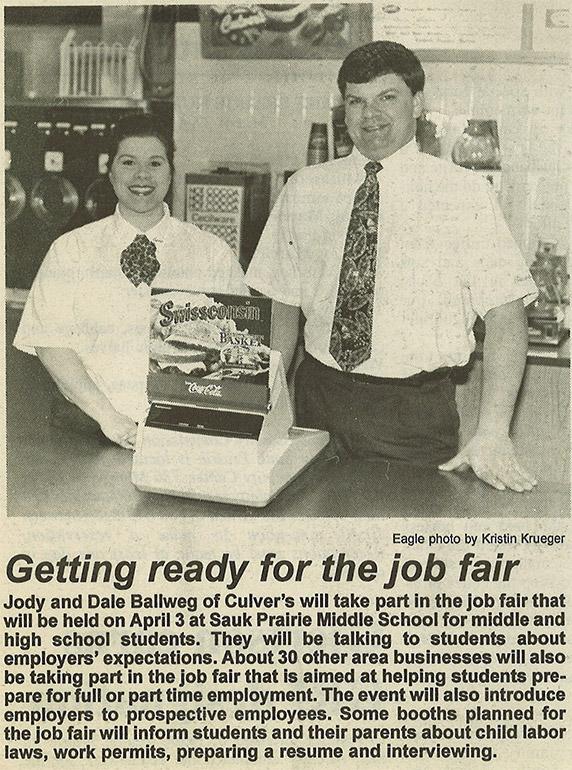 Jody and Dale Ballweg at the Sauk City, WI restaurant in 1997