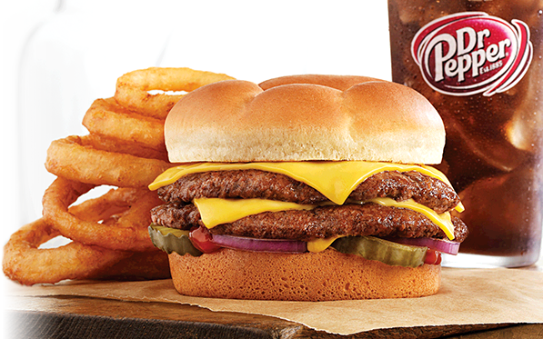 Double ButterBurger Cheese with Onion Rings and Dr Pepper®