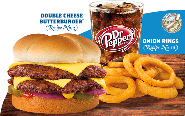 Double Cheese Butterburger, Dr. Pepper and Onion Rings Basket