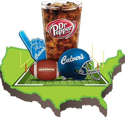 Culver's, Dr. Pepper, Football and a Map of the U.S.