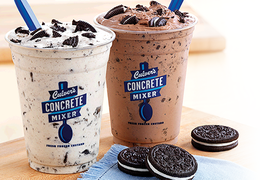 Culver's Vanilla and Chocolate OREO® Concrete Mixers.