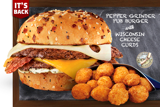 Picture of Pepper Grinder Pub Burger with Wisconsin Cheese Curds. Limited Time Only. Real Wisconsin Cheese Logo.