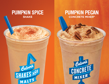 Culver's Pumpkin Spice Shake and Pumpkin Pecan Concrete Mixer®