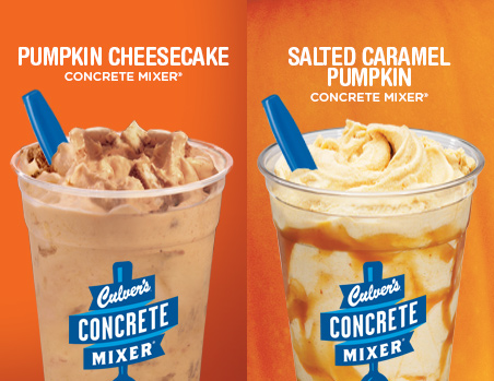 Culver's Pumpkin Cheesecake Concrete Mixer® and Salted Caramel Pumpkin Concrete Mixer®