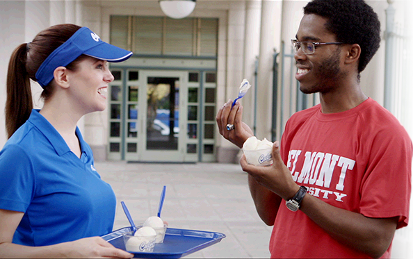 Scene from Culver's Surprise & Delight video of suprised people with Fresh Frozen Custard.
