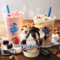 Strawberry Shake, Hot Fudge Sundae and Vanilla Concrete Mixer made with Cookie Dough and Salted Caramel