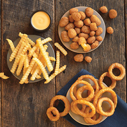 Crinkle Cut Fries, Onion Rings and Cheese Curds