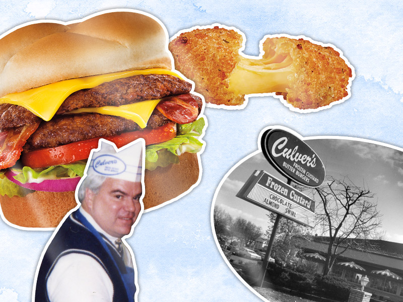 Photo collage of Culver's signature menu items, co-founder, and first location