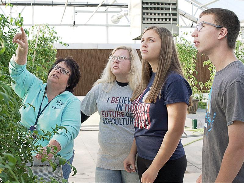 An FFA instructor teaching three Waupun FFA members in a greenhouse