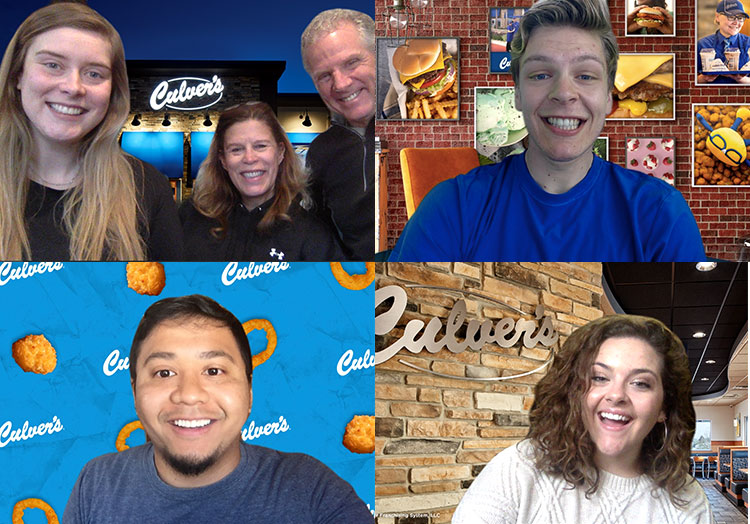 Link to story: 5 Culver's Video Chat Backgrounds. Collage of guests using the five different video chat backgrounds: cheese curds, in restaurant, Culver's Wall Decor and outside night shot of restaurant.