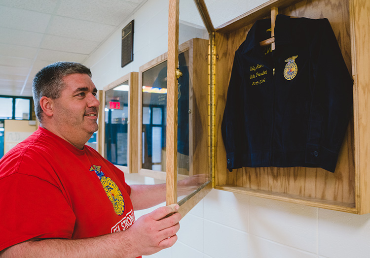 Link to story: A Point of Pride, the Importance of FFA Blue Jackets.Photo of blue jacket display