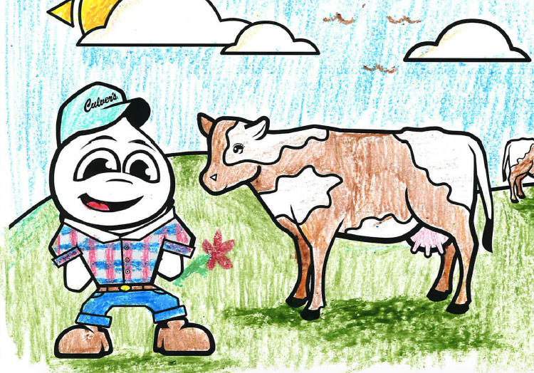 Link to story: Annual Kids Calendar Coloring Contest Winners. Coloring page from the 2019 calendar featuring Culver's Mascot Scoopie in farmer attire and hat next to two cows